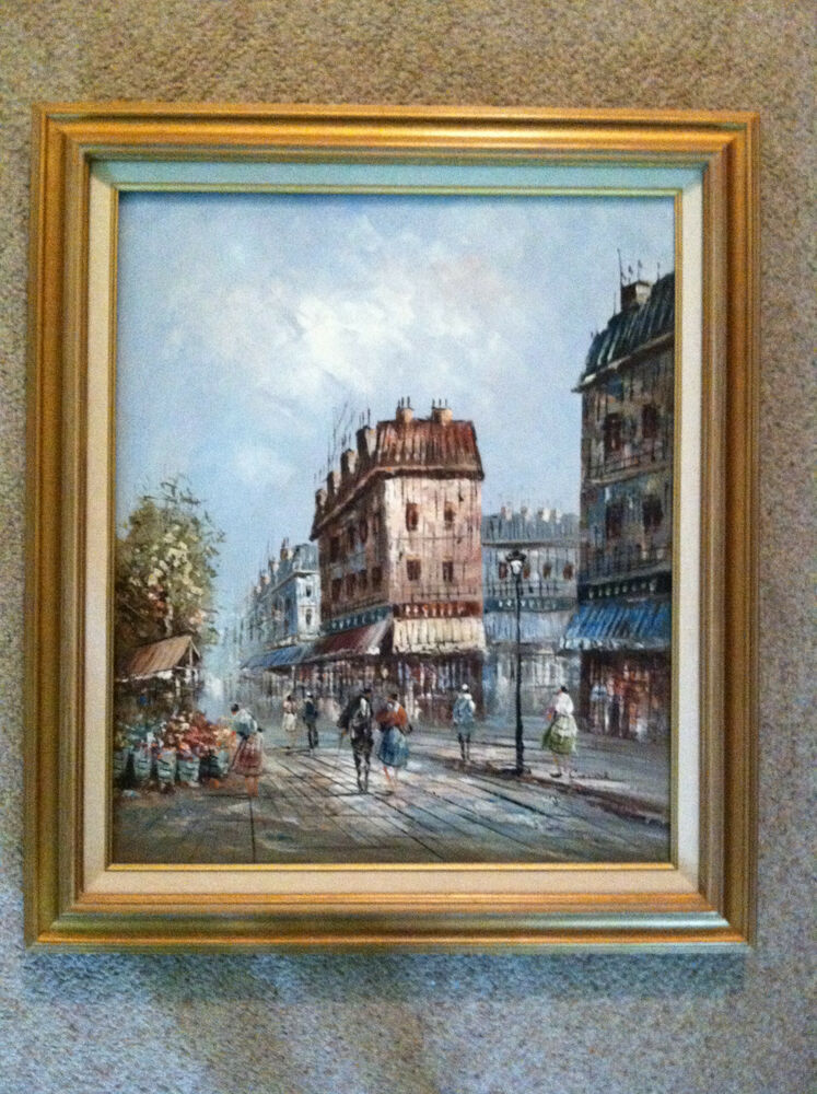 signed painting european street scene
