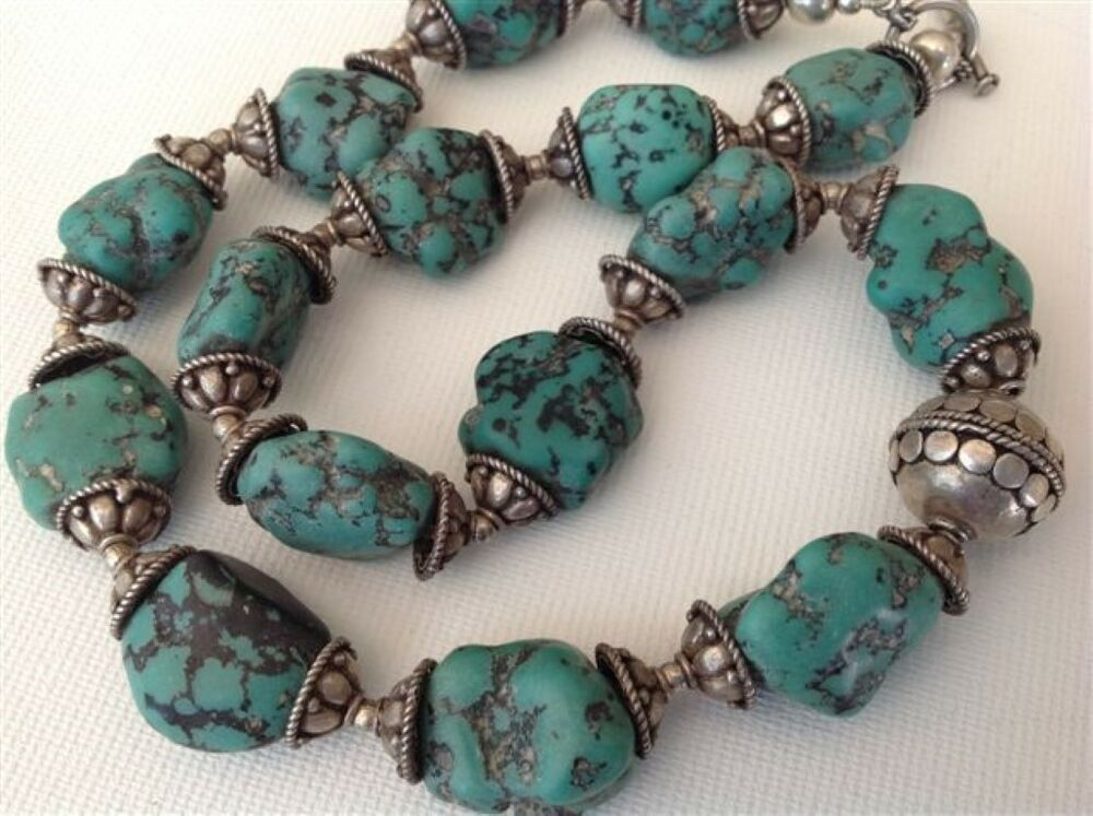 antique chinese raw turquoise beads silver necklace. Black Bedroom Furniture Sets. Home Design Ideas