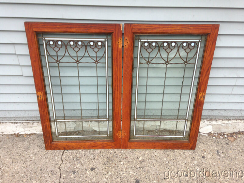 Old Leaded Glass Windows : Pair of antique oak cabinet doors windows stained glass