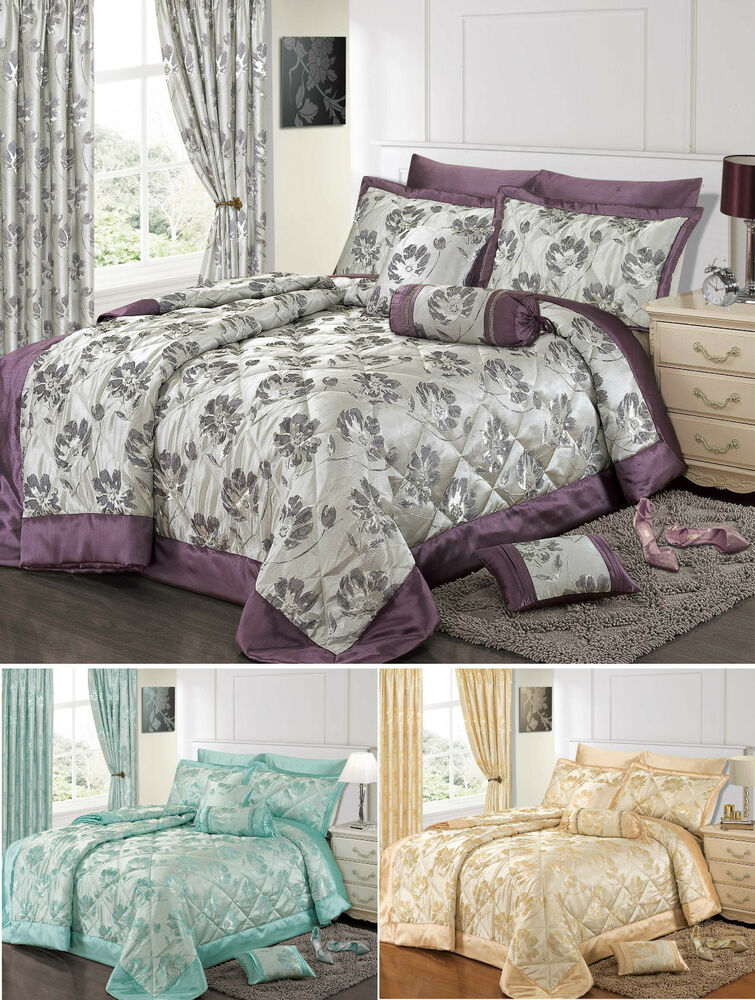 Jacquard Bedding Set Luxury Premium Floral Duvet Set Quilted Comforter Curtains Ebay