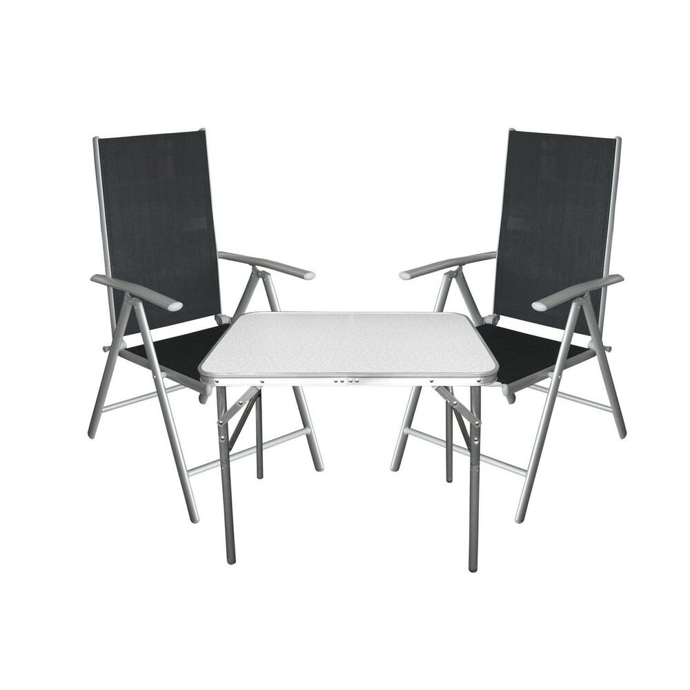 3tlg aluminium campingm bel set sitzgruppe balkonm bel. Black Bedroom Furniture Sets. Home Design Ideas