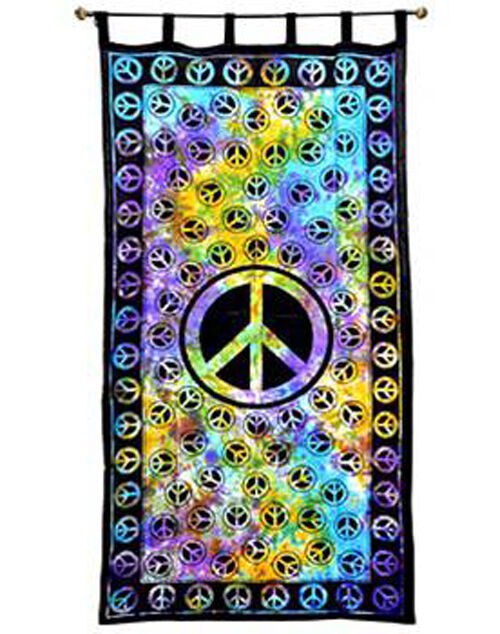 Peace Sign Tie Dye Hippie Indian Wall Hanging Tapestry