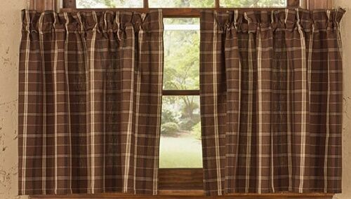"""... Chocolate Brown Plaid Privacy Tiers 36"""" Curtains Rustic Cabin 