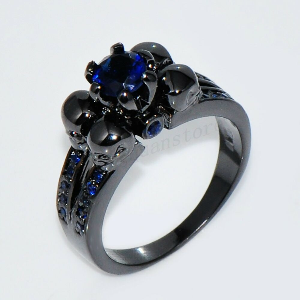 gothic skull blue sapphire engagement ring women men 39 s. Black Bedroom Furniture Sets. Home Design Ideas