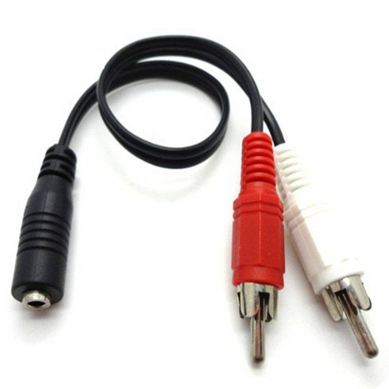 Pro 3 5mm 1 8 Stereo Female Mini Jack To 2 Male Rca Plug