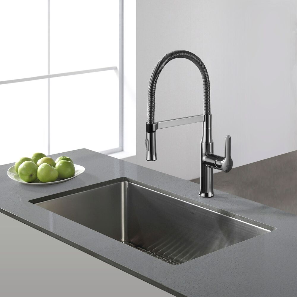 Kitchen Sink Kraus: Kraus 30-inch Undermount Single Bowl Steel Kitchen Sink