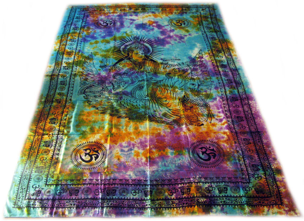 Goddess Saraswati Om Swan Indian Tie Dye India Wall