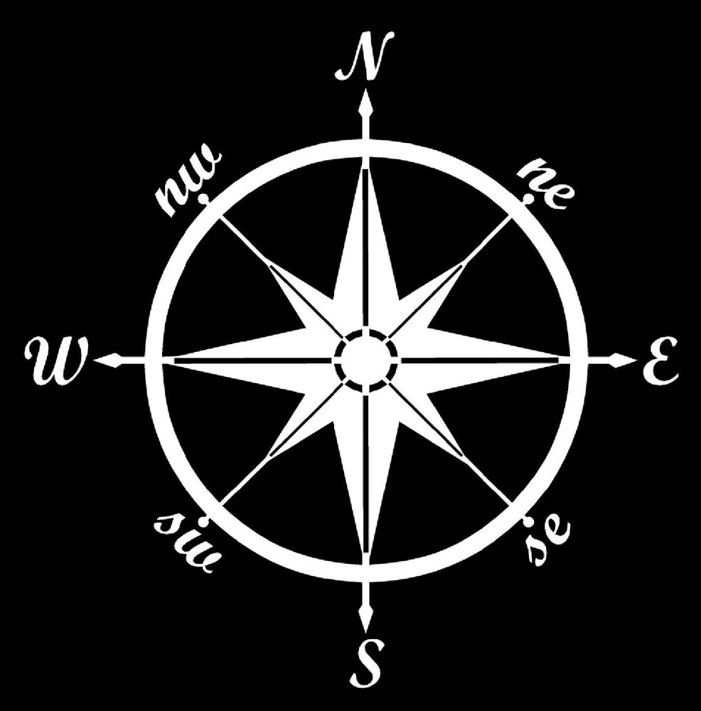 Compass Vinyl Decal Sticker Car Boat Window Wall Nautical