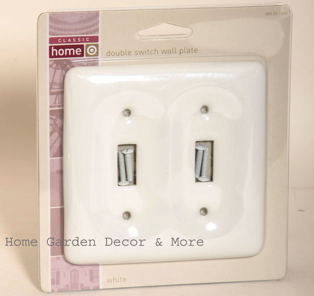 white ceramic porcelain double light switch wallplate wall plate outlet cover ebay. Black Bedroom Furniture Sets. Home Design Ideas