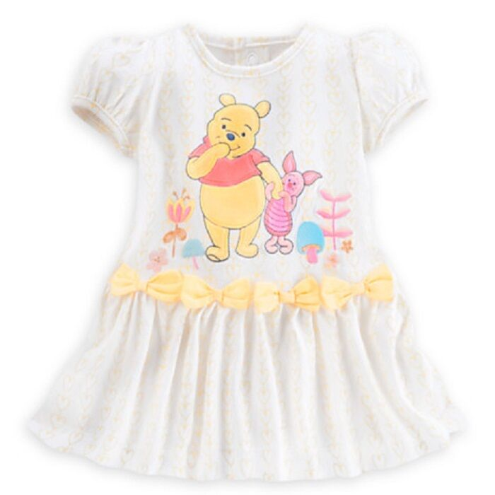 Disney Store Winnie Pooh Baby Dress Bloomers Nwt Allover Yellow