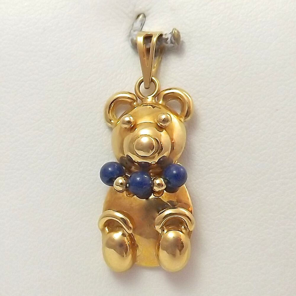 18k Yellow Gold 3d Puffy Teddy Bear With Lapis Necklace
