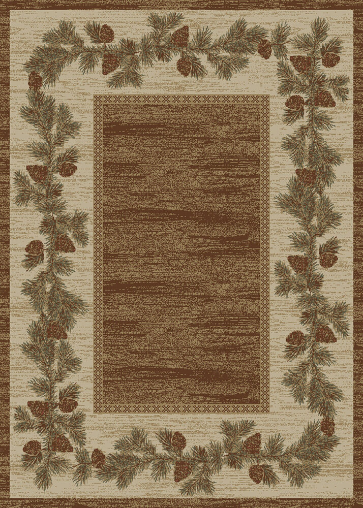 1 Two Pack 2x3 S Lodge Cabin Rustic Pinecone Brown Area