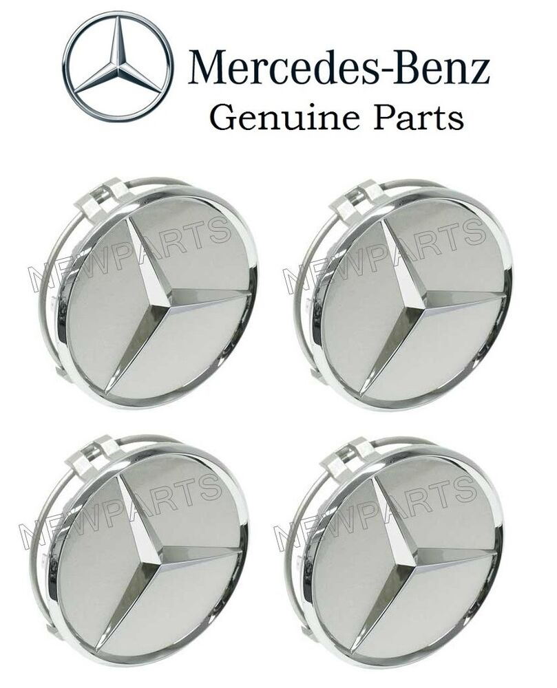 New genuine mercedes 4x wheel center hub cap for alloy for Silver star mercedes benz parts