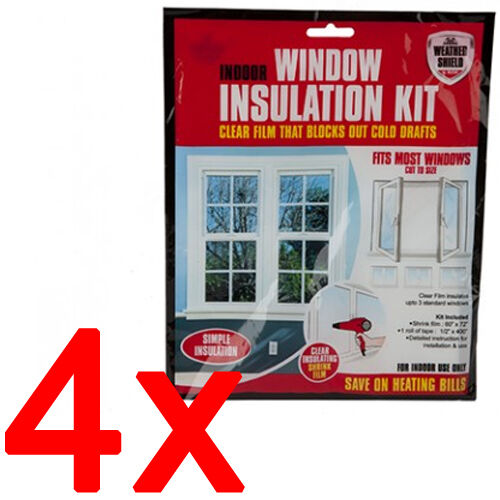 4 x window insulation kit shrink fit double glazing film for Window insulation kit