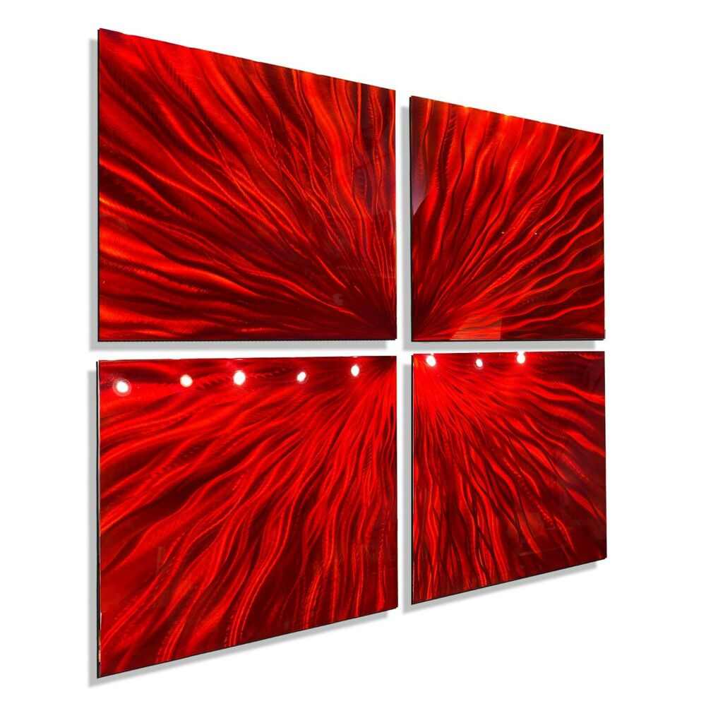 Red modern abstract metal wall art sculpture contemporary for Modern artwork for home