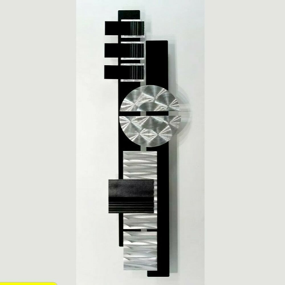 Silver black metal abstract modern wall art sculpture home for Modern silver home accessories