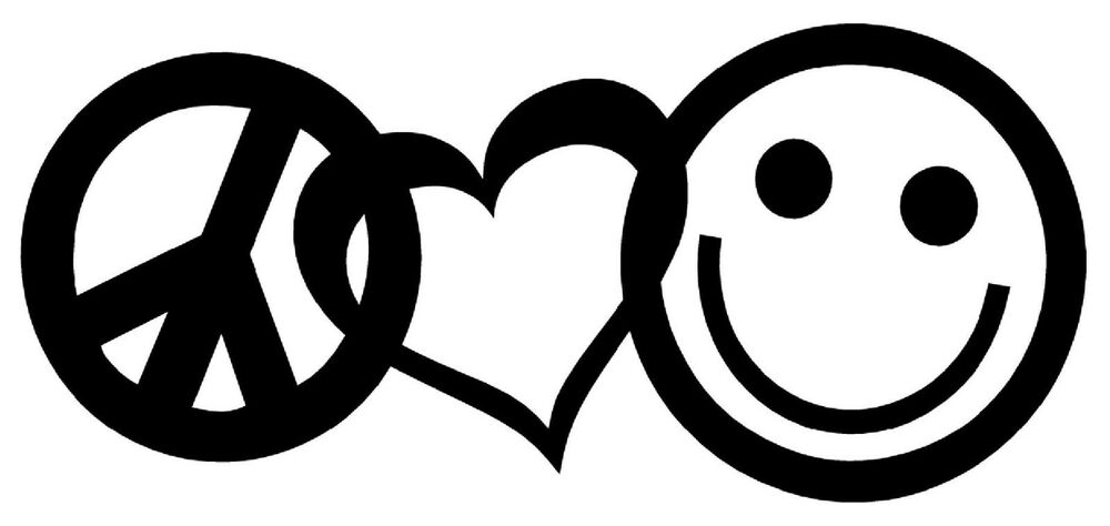 PEACE LOVE HAPPINESS Vinyl Decal Sticker Car Window Wall ...