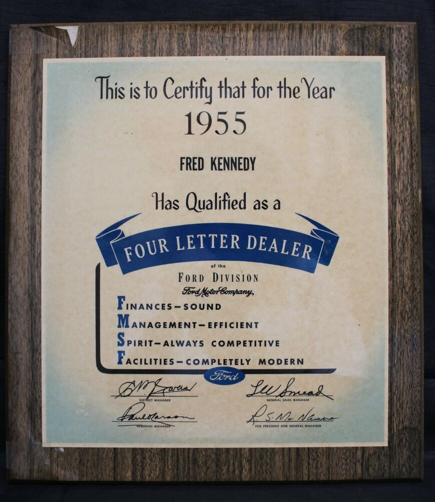 1955 ford motor company four letter dealer award plaque ebay. Black Bedroom Furniture Sets. Home Design Ideas