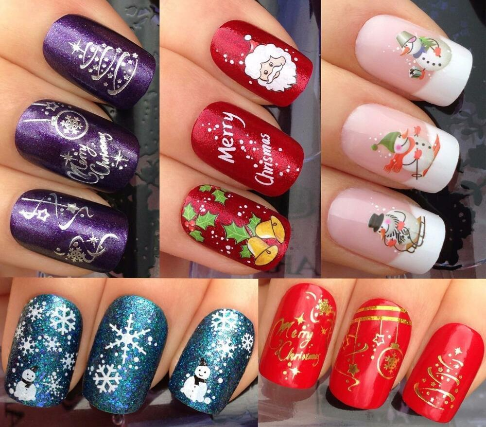 Water decal christmas nail art stickers ebay christmas nail art stickers water decals transfers snowflakes snowmen santa bell prinsesfo Image collections