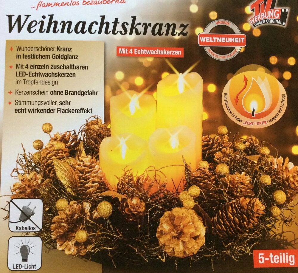 weihnachtskranz neu adventskranz mit 4 led kerzen mit. Black Bedroom Furniture Sets. Home Design Ideas