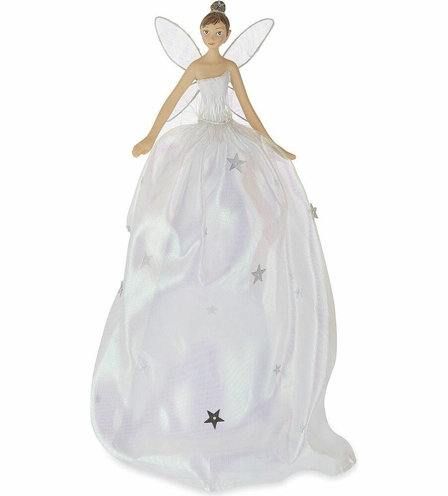 Gisela Graham Christmas Tree Topper: GISELA GRAHAM 28cm IRRIDESCENT TREE TOP TOPPER FAIRY ANGEL