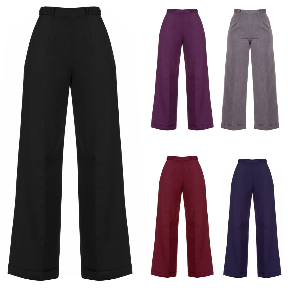 Womens New 1940s Style Retro Vintage Swing Trousers Wide ...