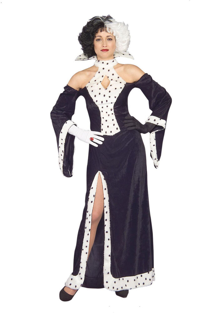 womens cruella de vil fancy dress costume disney 101 dalmatians halloween outfit ebay. Black Bedroom Furniture Sets. Home Design Ideas