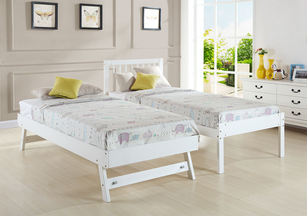 single bed 3ft with trundle bed white pine wood frame. Black Bedroom Furniture Sets. Home Design Ideas