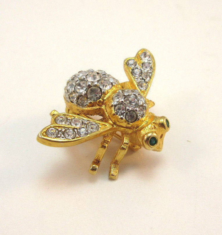 Gold Tone Rhinestone Encrusted Joan Rivers Bumble Bee Pin