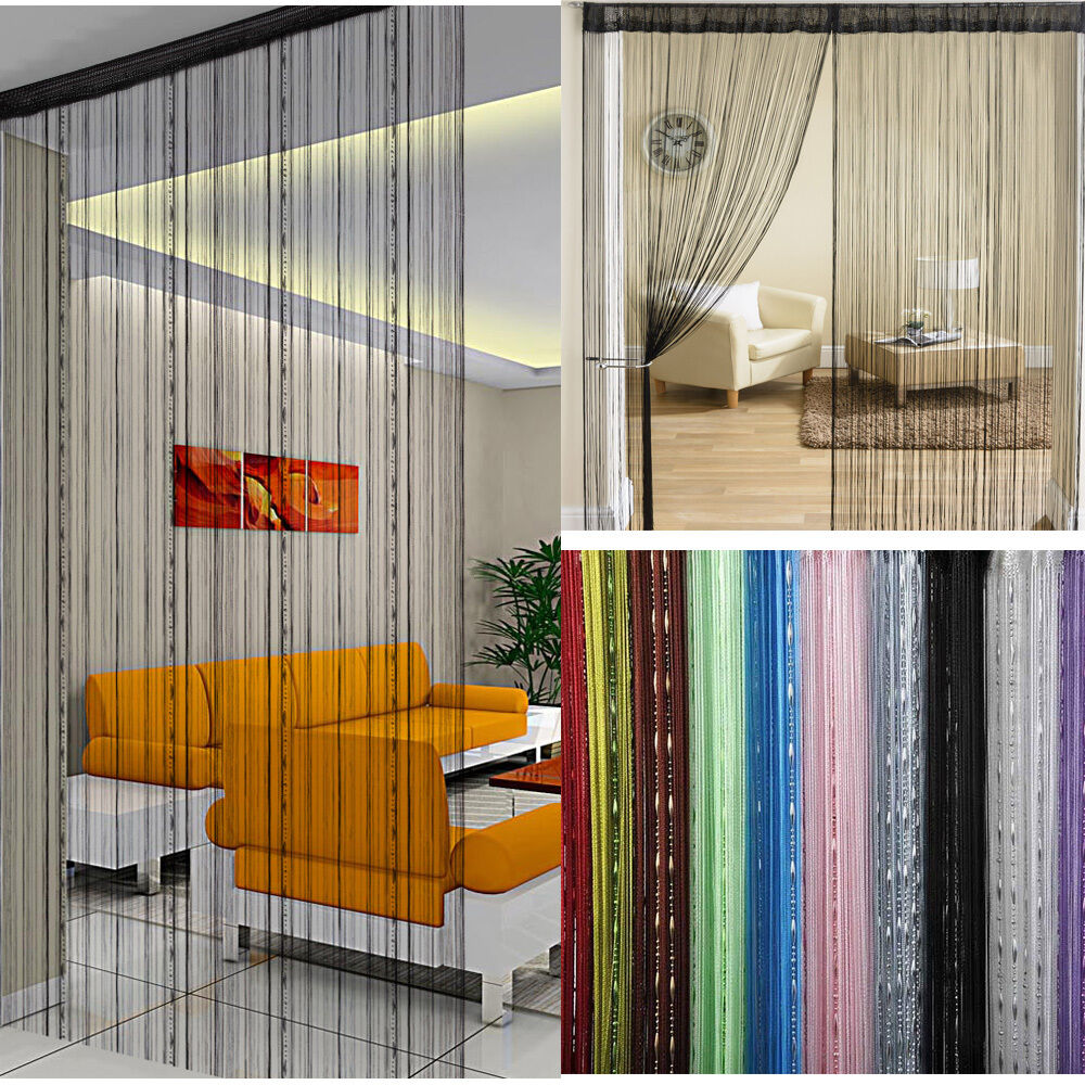 single fly screen string curtain panel fringe tassle. Black Bedroom Furniture Sets. Home Design Ideas