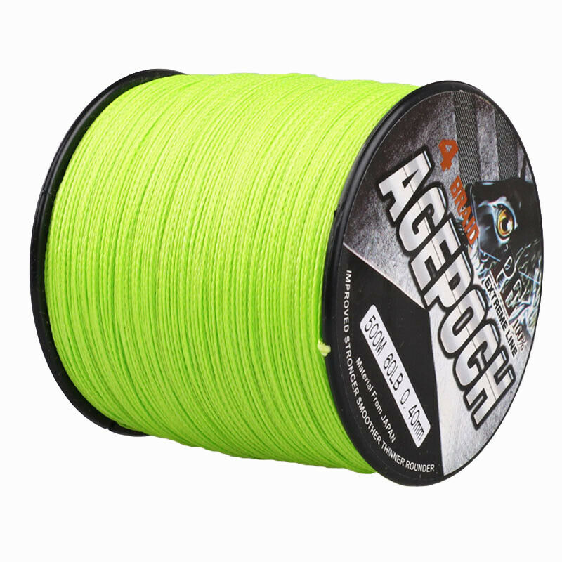 Agepoch 100 2000m 6 300lb fluorescent green 100 pe dyneema for Best braided fishing line