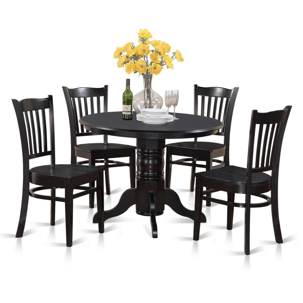 5 piece small round table and 4 dining chairs ebay for Small kitchen table sets for 4