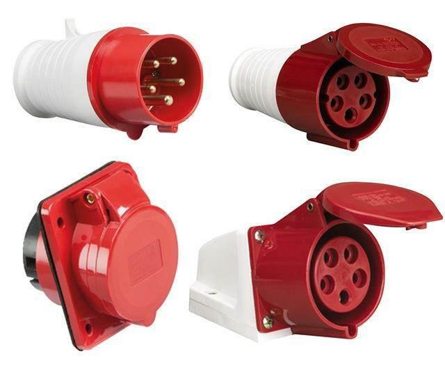 Red 415v 16 Amp 5 Pin Industrial Plug Or Sockets Ip44 3
