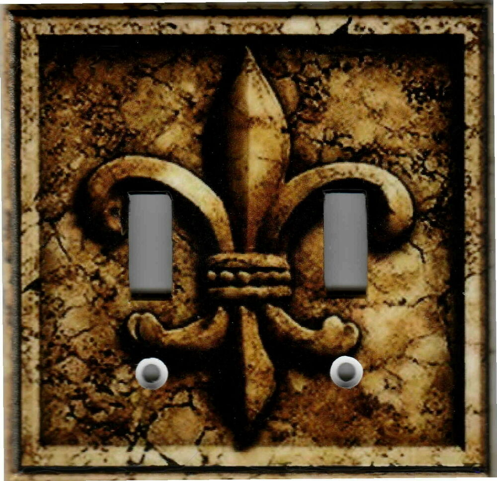 Fleur De Lis Brown Stone Print Home Wall Decor Double