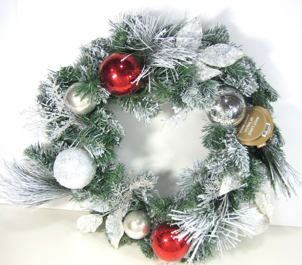 New Pier Imports Holiday Frosted Pine Wreath Ebay