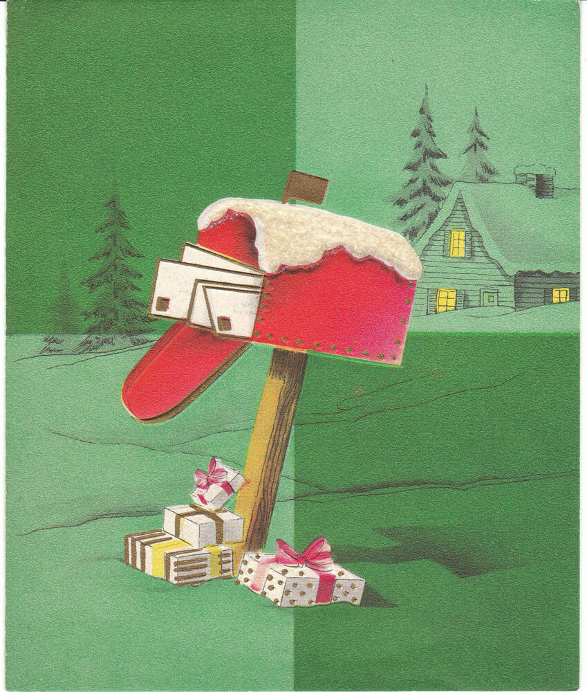 Vintage Christmas Card Red Mailbox Full Of Letters And