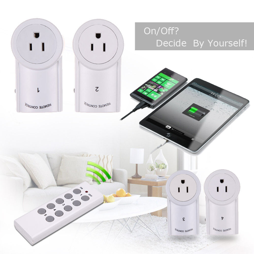 4 5 pack wireless remote control outlet power light us. Black Bedroom Furniture Sets. Home Design Ideas