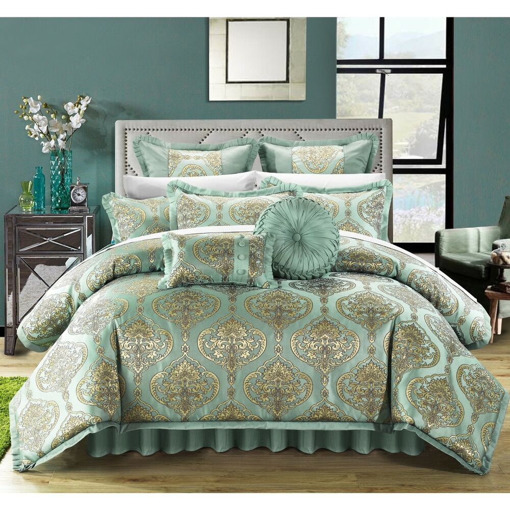 Chic Home Giovani Jacquard Motif Fabric 9 Piece Comforter