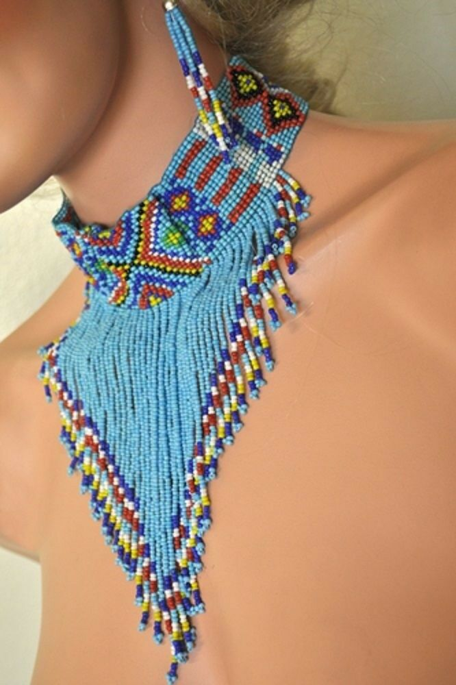 Tribal Beaded Choker Earrings Indian Chief Pocahontas Turquoise Costume Jewelry Ebay