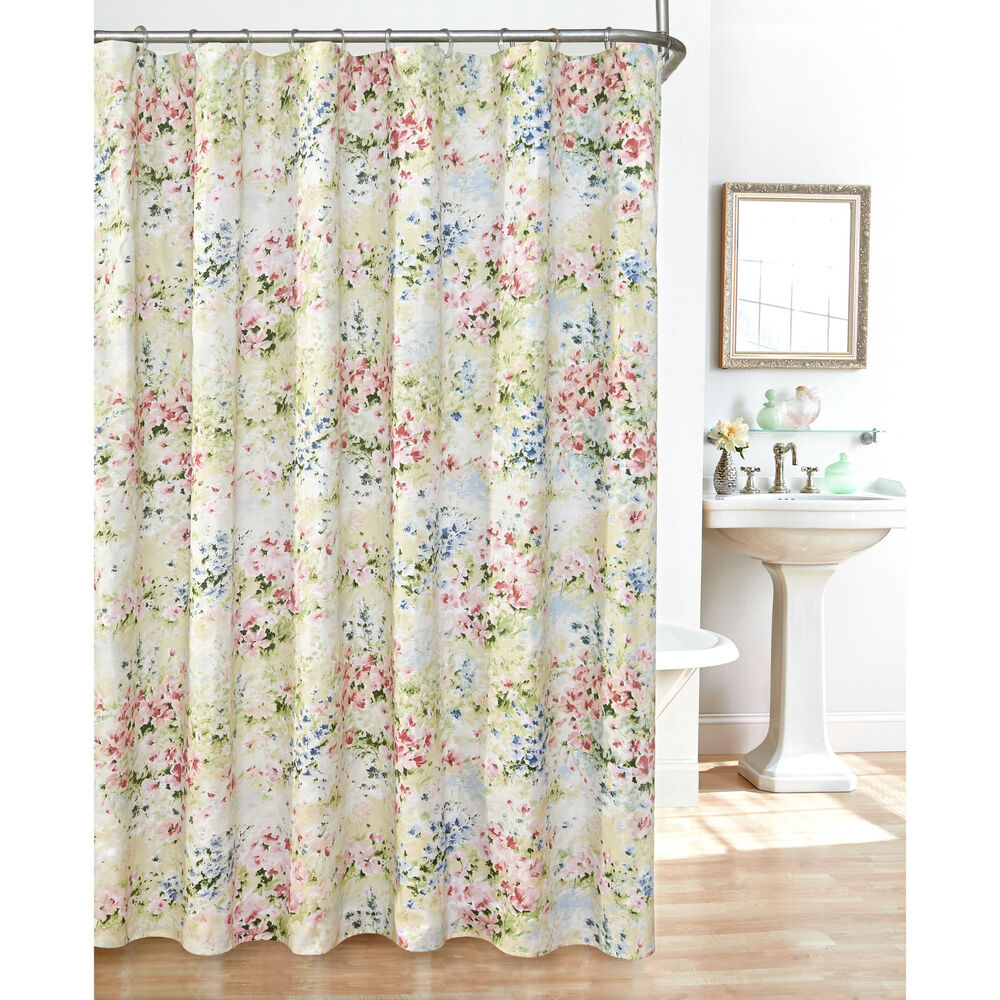 giverny fabric plisse shower curtain set ebay. Black Bedroom Furniture Sets. Home Design Ideas
