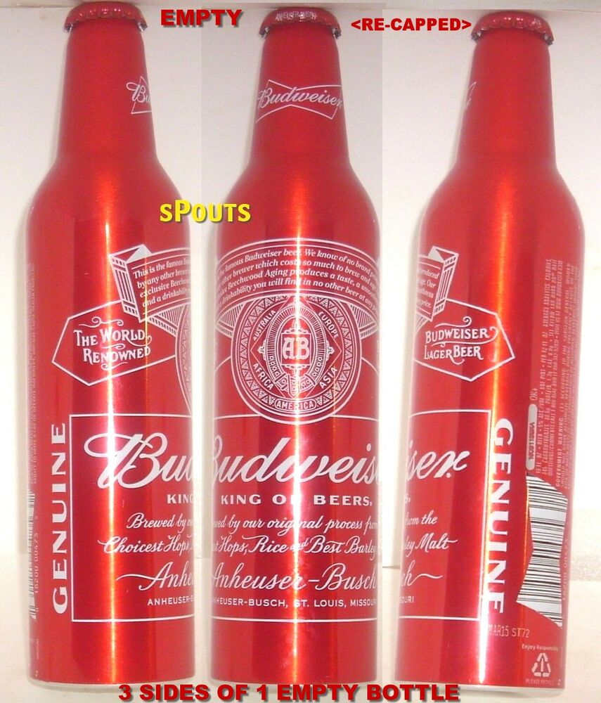 2015 ALUMINUM BEER BOTTLE-CAN PRY-CAP RED CROWN BUDWEISER
