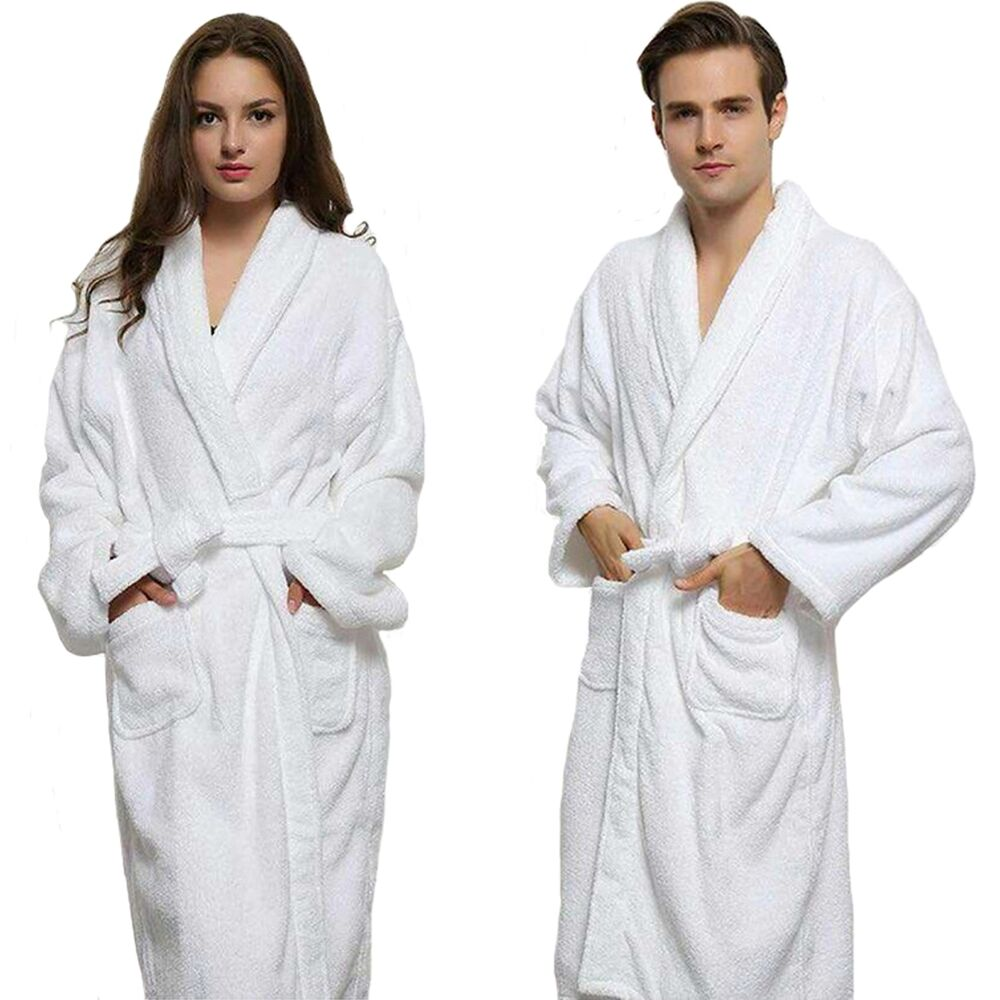 Bathrobe: Unisex 100% Cotton Terry Towelling Shawl Collar Bath Robe