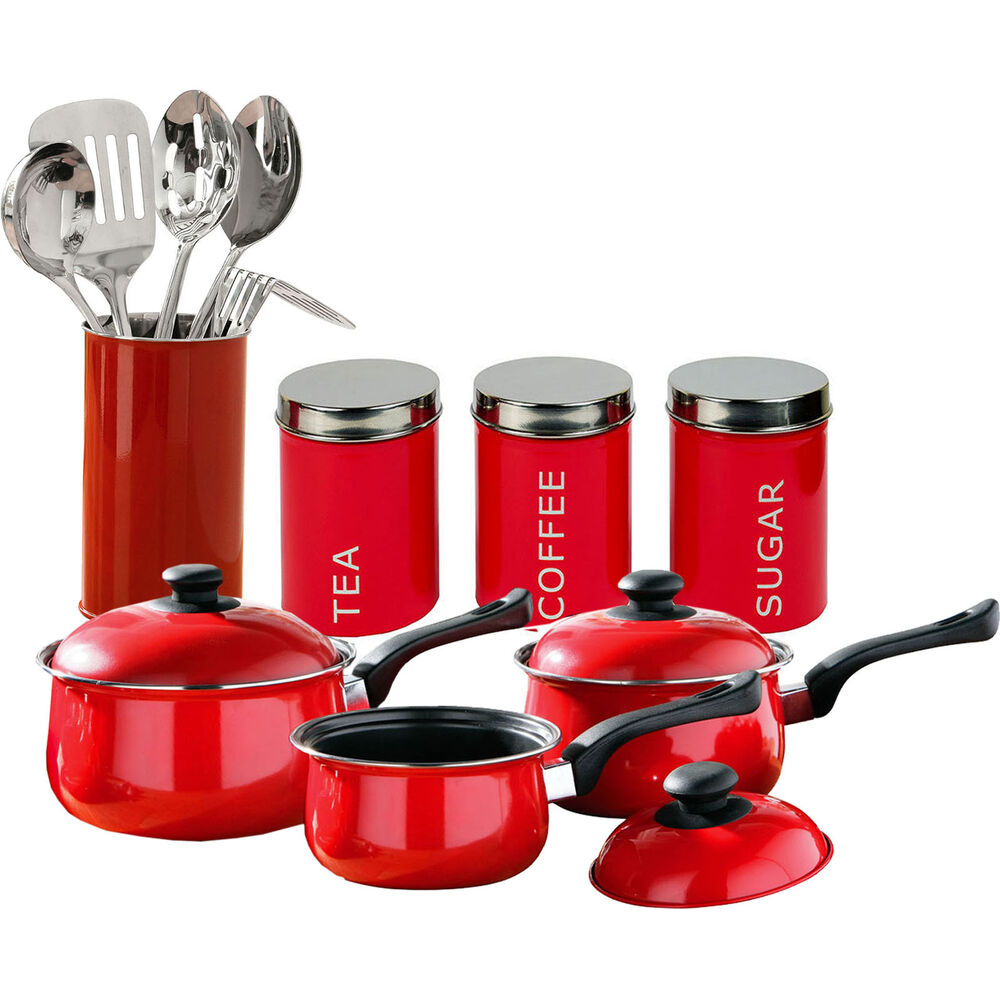 12 piece red starter kitchen set tea coffee sugar saucepan for Kitchen set cicilan 0