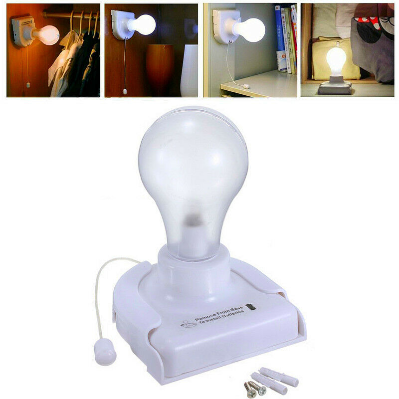 Wall Mounted Night Table Lamps : Stick Up LED Handy Wired Bulb Cabinet Wall Mount Table Lamp Night Light Battery eBay