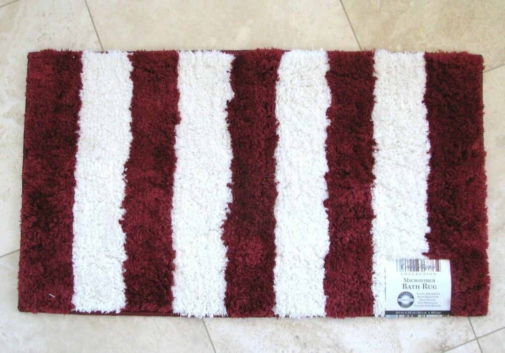 New color happy collection red white striped microfiber for Red and white striped area rug
