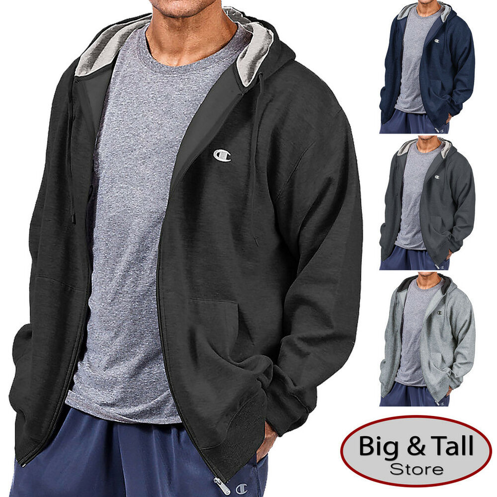 Big Tall Men 39 S Champion Full Zip Fleece Hoodie 3xl 5xl