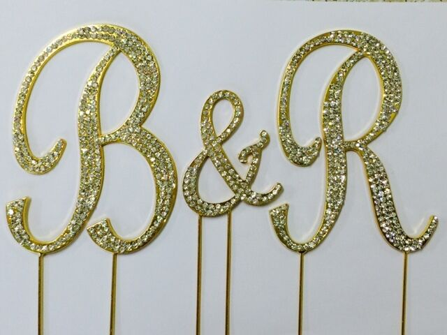 gold rhinestone covered monogram initial letter wedding With gold monogram cake topper letters large