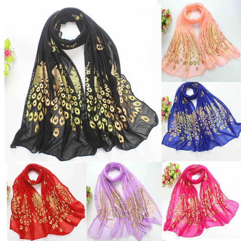 Fashion Women Gold Peacock Flower Print Long Soft Scarf