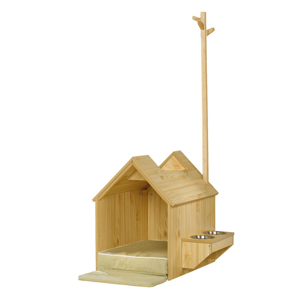 Sauder Furniture Light Pine Indoor Dog House With Food And Water Shelf 417192 Ebay