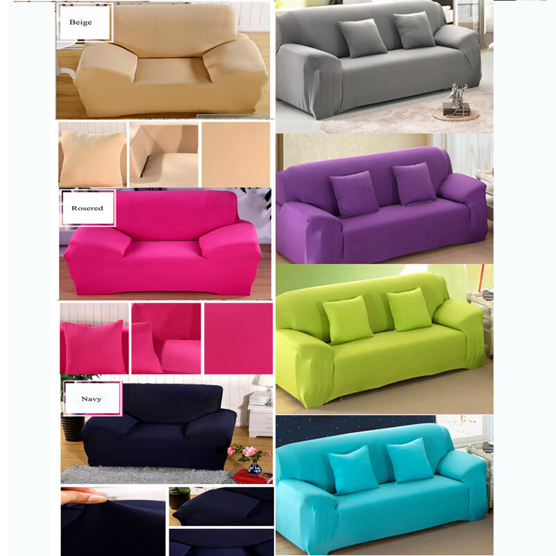 pure color stretch elastic sofa slipcovers pet throw sofa cover for 1 2 3 seater ebay. Black Bedroom Furniture Sets. Home Design Ideas